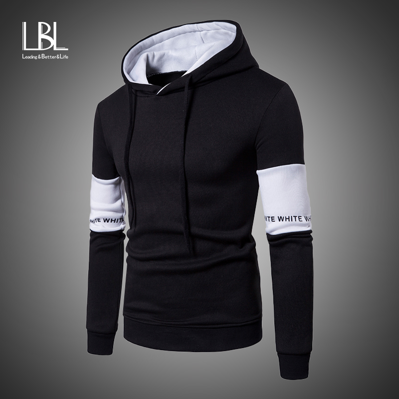 2019 Casual Hoodies Men Fashion New Patchwork Hooded Sweatshirt Coat Mens Moletom Masculino Hoodies Slim Sportswear Tracksuits
