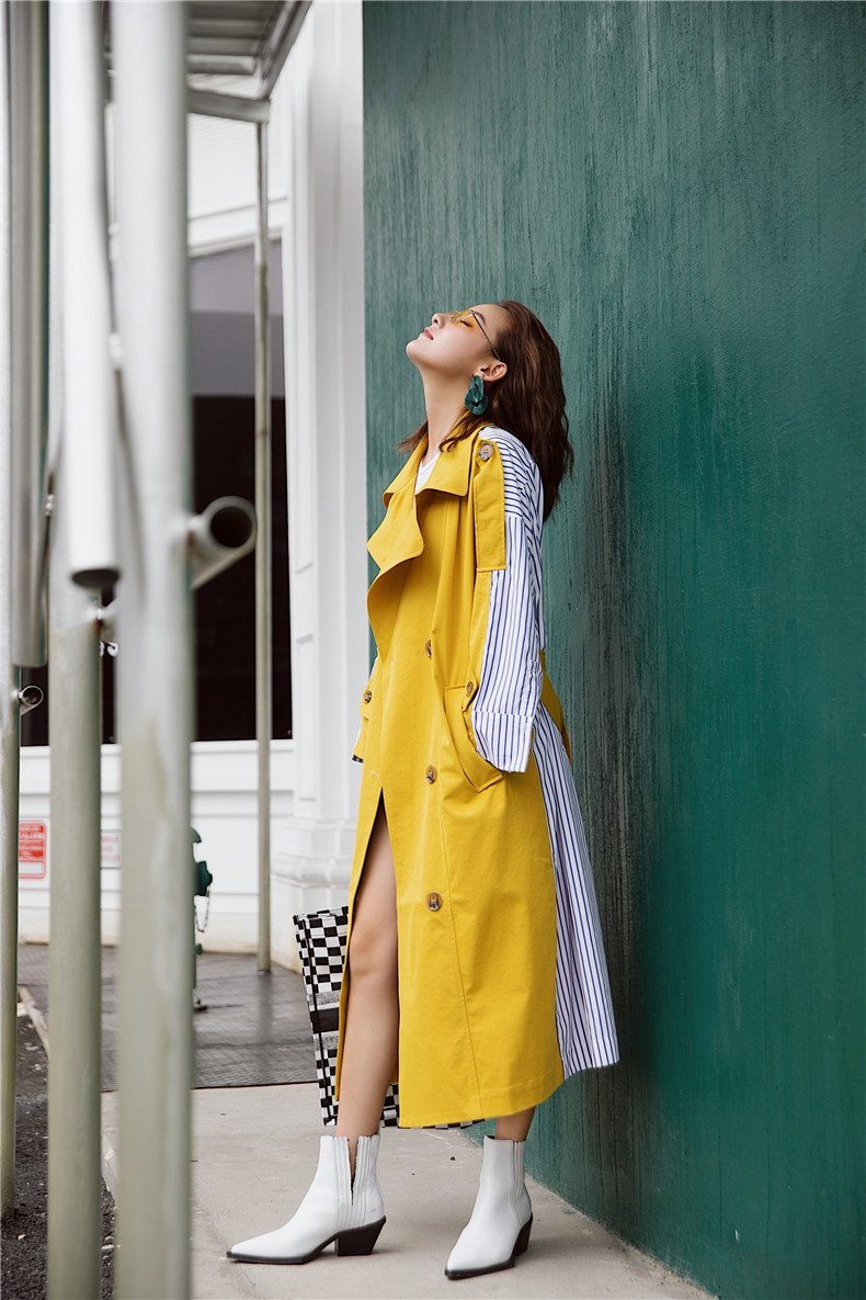 Korean Women Clothes 18 Autumn Windbreaker Female Long Coat New Style Striped Stitching Yellow Winter Trench Coat 5