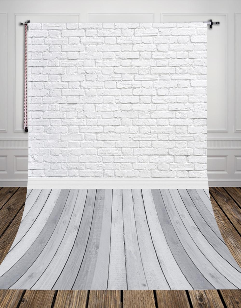 Grey Wood Floor Studio Photo Background Vinyl White Bricks Photography Backdrop for Pets Cakes Photos D-9713
