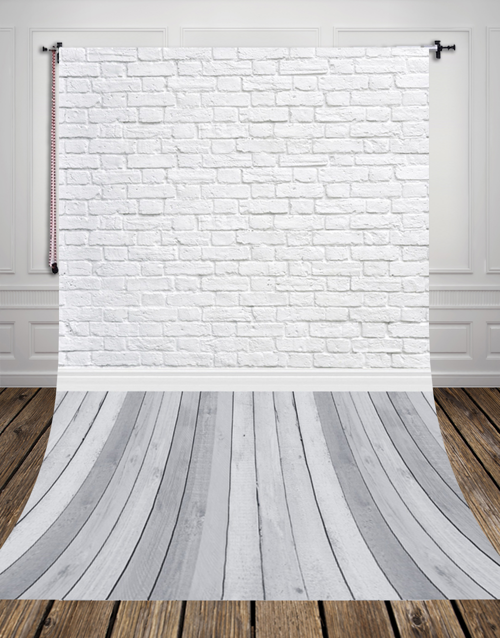 Grey Wood Floor Studio Photo Background Vinyl White Bricks Photography Backdrop for Pets Cakes Photos D-9713