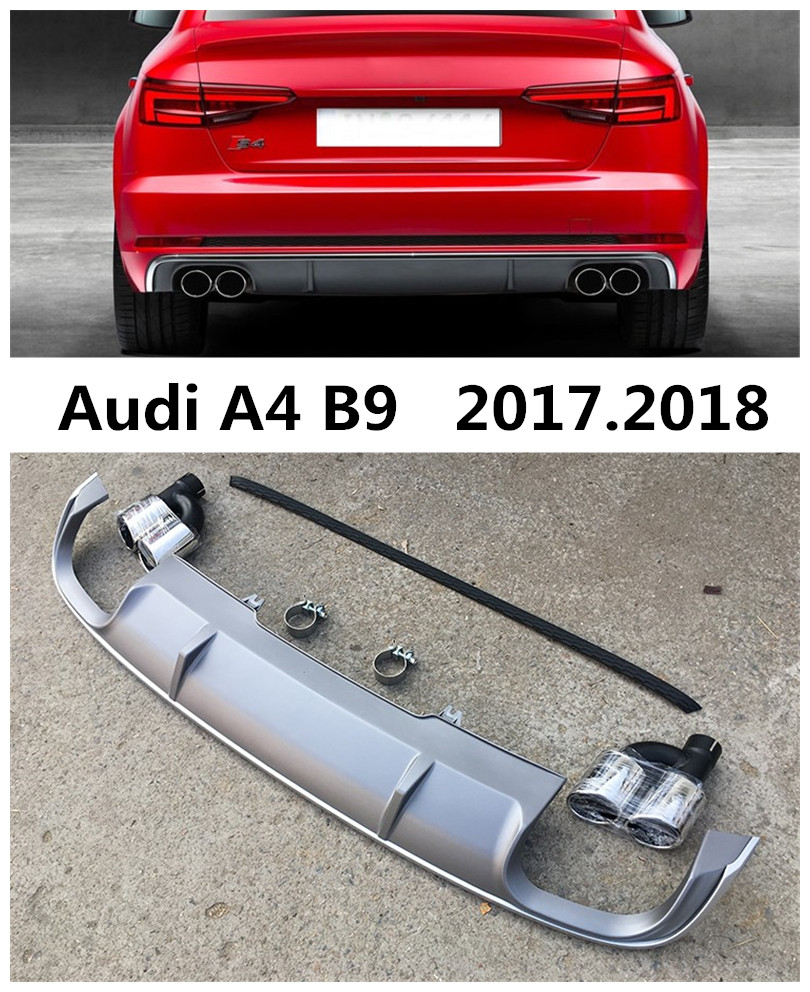 Car rear lip spoiler for audi b9 a4 s4 2017 2018 high quality pp abs bumper diffuser auto accessories black grey