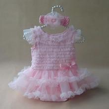 Princess Baby Girl Clothes Lace Ruffle Dress Summer Sleeveless Romper & Headband 2PC Set  Infant Birthday Party