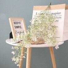 75cm 5 Fork Wall Hanging Fantasy Cherry Blossom Plastic Flower Wedding Arch Decoration Silk Ivy Garland Wreath