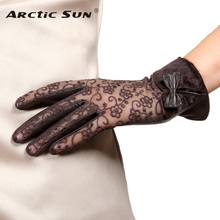 NEW Women's Genuine Leather Gloves Lace Autumn Winter Thicken Sheepskin Gloves Female Short Style Driving Mittens L156NC