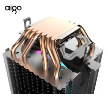 Aigo L6 Two Tower CPU Cooler PC Heatsink with 6 Direct Contact Heat Pipes Radiator 90mm LED Fan Computer CPU Air Cooling Cooler(China)
