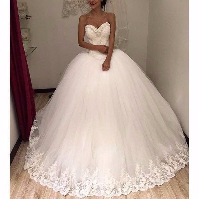 Wedding Dress Bling Pearls Luxury Plus Size Gowns Custom