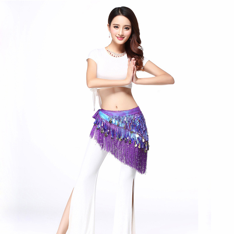 belly dancing scarf Fringe gradient Belly Dance Clothing Accessories Sequins Tassel Wrap Chiffon Base Women Belts Hip Scarf in Belly Dancing from Novelty Special Use