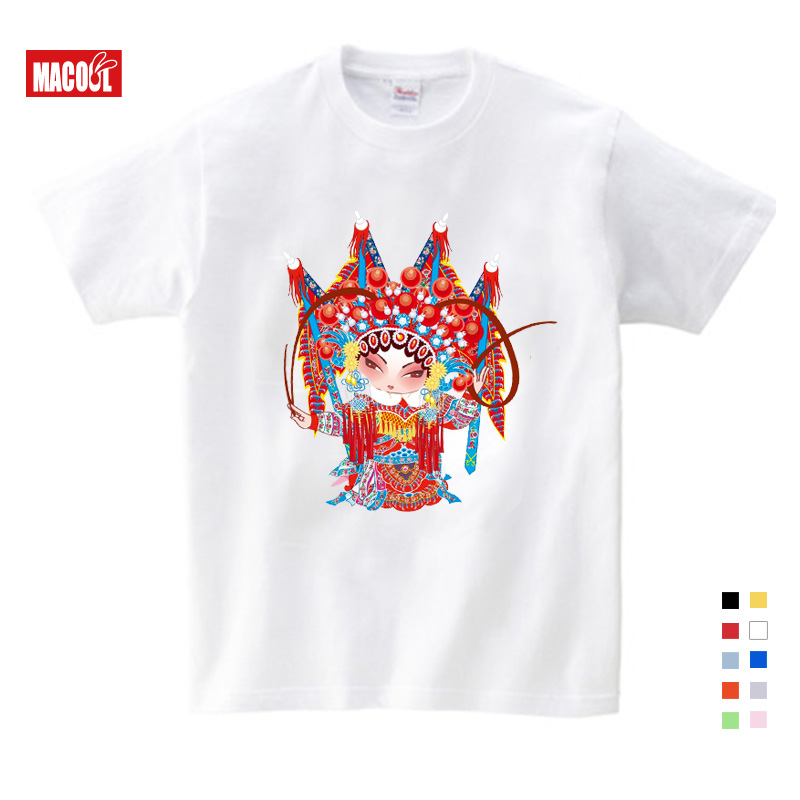 Short Sleeve Baby T-shirt Popular In Beijing Opera House Clothing Jacket and 3-12years