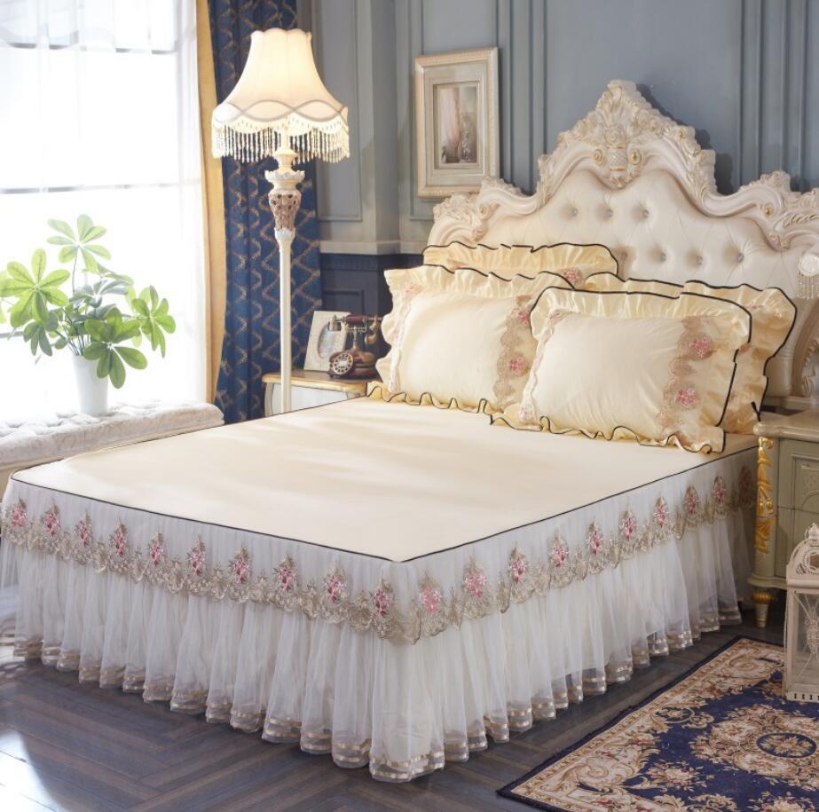 Couleur unie princesse literie dentelle lit jupe taies d'oreiller roi/reine/jumeau mariage maison Textile filles couvre-lit linge de lit coton