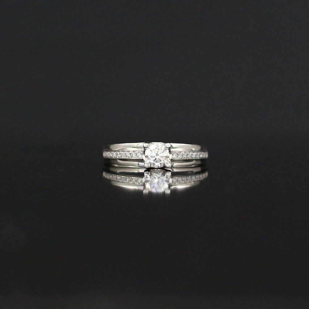LASAMERO 0.332CT FG/SI anneau de diamant naturel d'amour moderne de coupe ronde pour les femmes 18 k or blanc certifié bague de mariage de fiançailles
