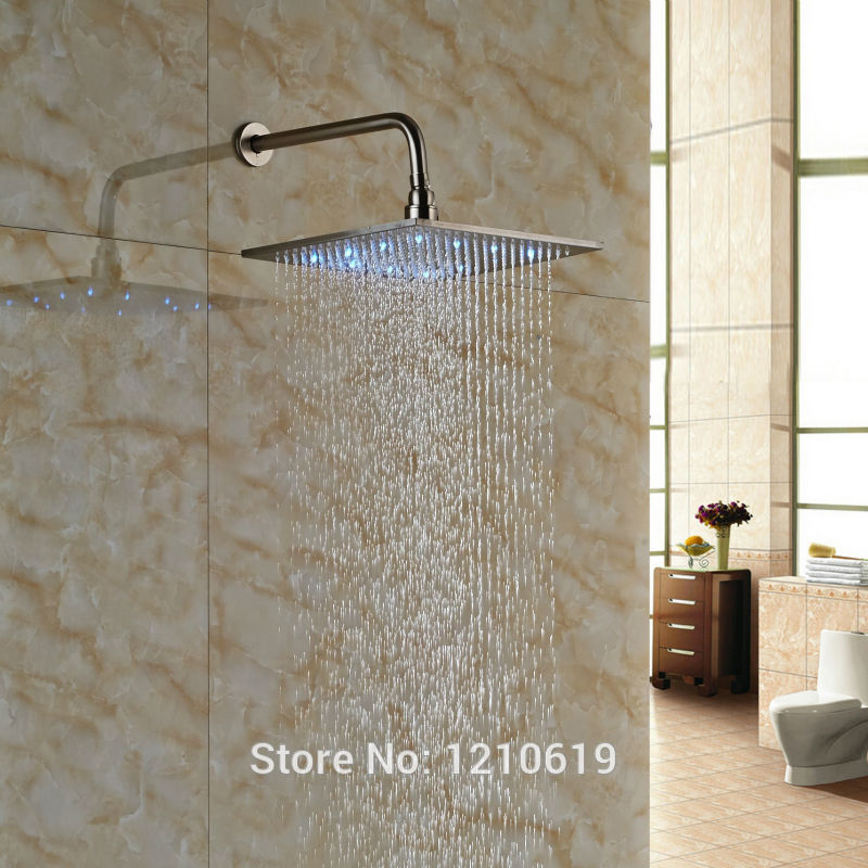 цена на Newly Bathroom 12 Inch Shower Head w/ Shower Arm Nickle Brushed LED Lights Top Shower Sprayer Wall Mounted