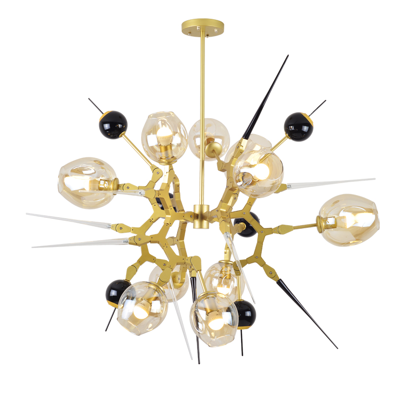 Post modern LED Chandelier 10 Head 5 Light Modern Black Gold aluminum Branch Nordic art decoration home Dining Room shop store