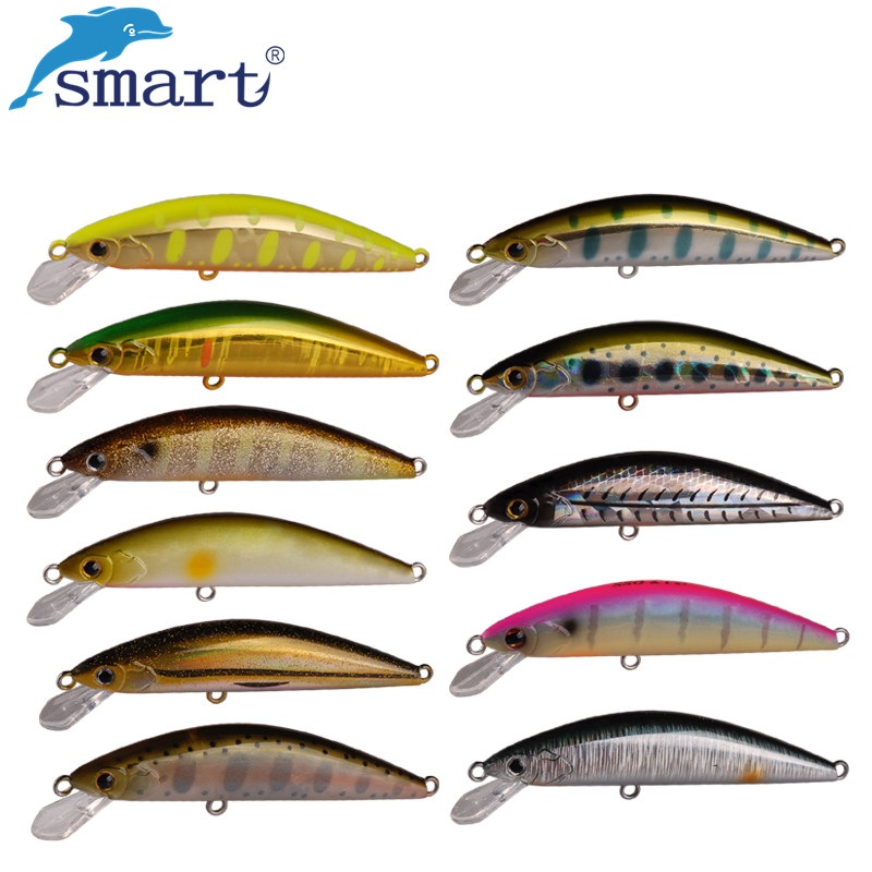 2017 Smart Minnow Fishing Lure 55mm/3.6g Hard Bait VMC Hook Fishing Wobblers Leurre Souple Swimbait Peche En Mer Lures Vissen trulinoya dw13 super minnow simuation fish 105mm 15g heavy lure dive deep2 5m hard bait fishing lure vmc hook