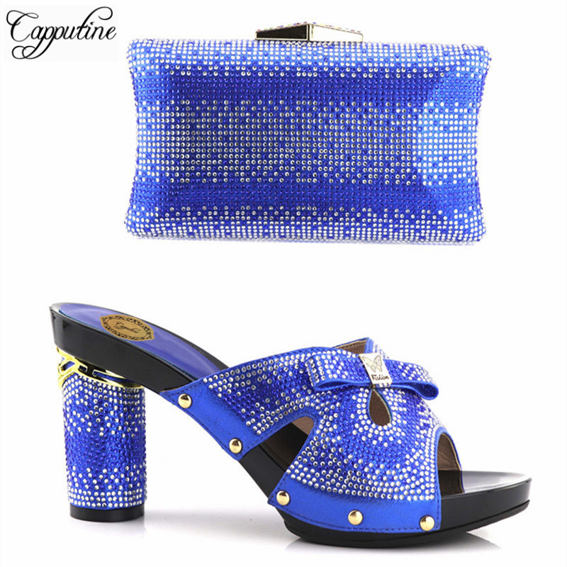 Capputine Nigerian Style Rhinestones Shoes And Matching Bags Set New Italian Shoes And Bags Set For Wedding Dress Free Shipping free shipping newest shoes matching bags royal blue italian designer shoes and bags ct16 06