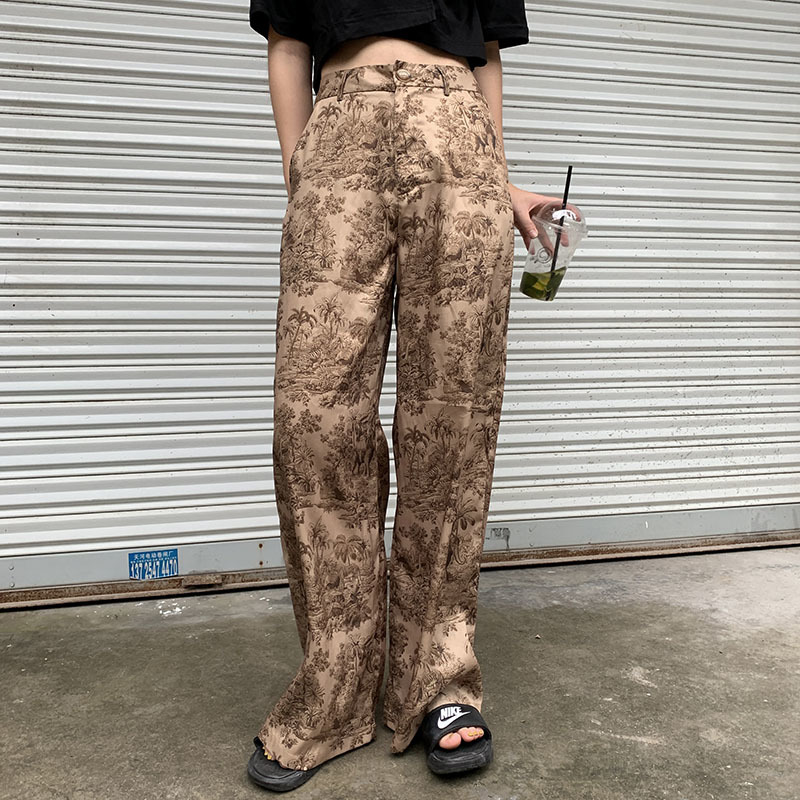 LANMREM 2019 new summer fashion women clothes thin styles high waist printed   wide     legs     pants   female trousers WH31704L