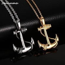 New Vintage Caribbean Pirate Anchor Pendant Mens Necklace Personalized Stainless Steel Gold Silver Hook Jewelry Gift