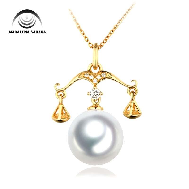 MADALENA SARARA 11-12mm AAA perle d'eau salée Southsea perle d'eau Style balance couleur naturelle pur 18 k chaîne en or collier