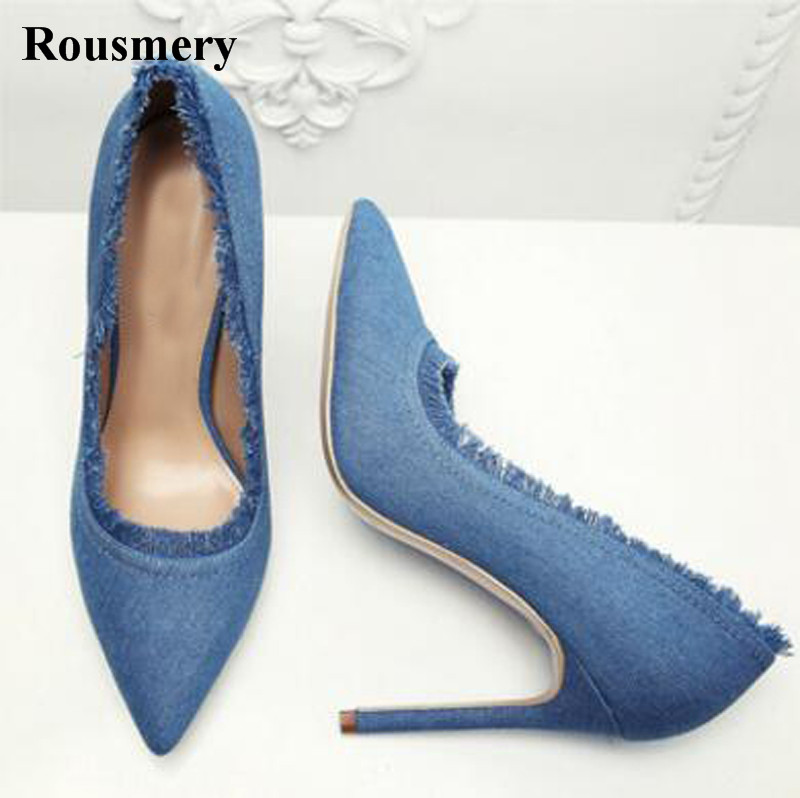 New Design Women Fashion Pointed Toe Slip-on Denim Pumps Super High Fringes 12cm High Heel Jean Pumps Formal Dress High Heels women s fashion pointed toe elegant women pumps high heels flower embroider silk super high heel 9cm black green slip on shoes