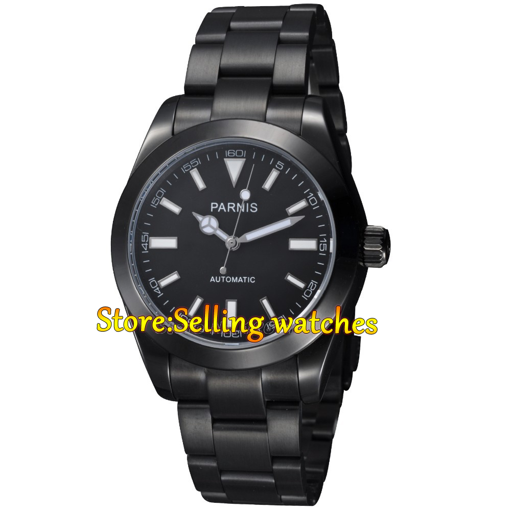 40mm Parnis black dial PVD Japan MIYOTA movement sapphire glass Mens Watch japan miyota 40mm pvd case parnis men s watch