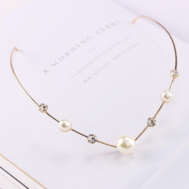 Bandeaux en alliage de cristal pour filles   Accessoires pour cheveux de mariage avec feuille de perle, accessoires pour coiffure