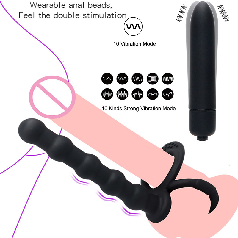 10 Speeds <font><b>G</b></font>-spot Dildo Vibrator Anal Bead Anal Butt Plug <font><b>Sex</b></font> <font><b>Toys</b></font> For Woman Male Double <font><b>Rings</b></font> Prostate Massager Stimulator image