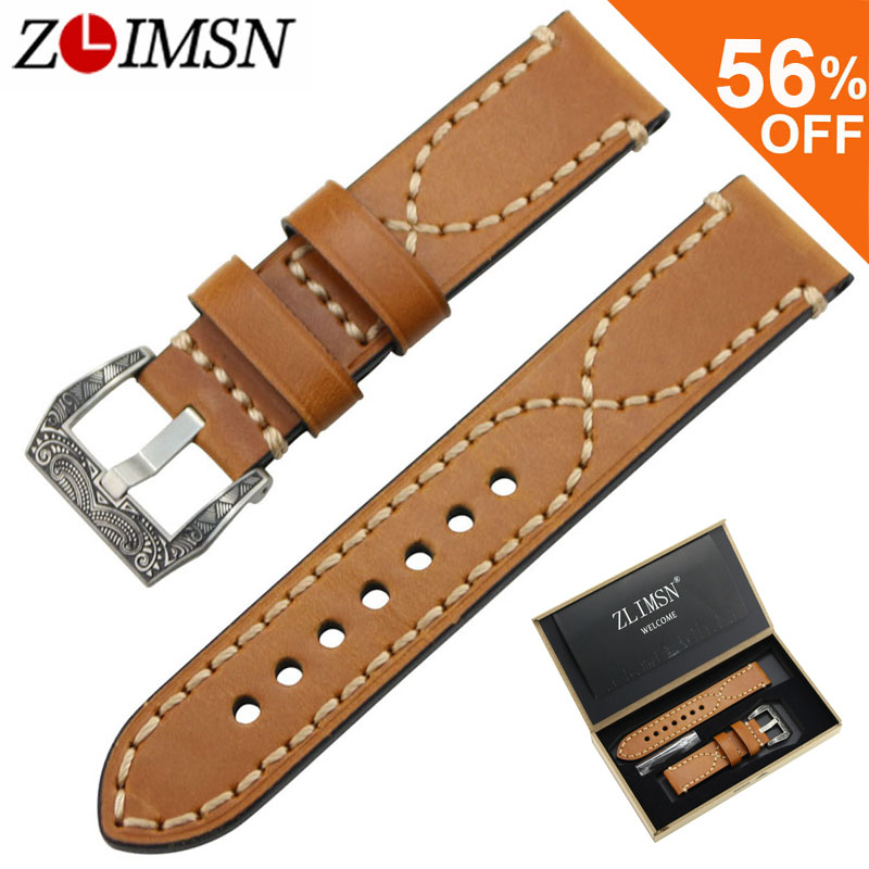 ZLIMSN Genuine Leather Watch Band Strap Suitable for Panerai Wristbelt 20 22 24mm Men's Watchband Stainless Steel Carved Buckle new arrive top quality oil red brown 24mm italian vintage genuine leather watch band strap for panerai pam and big pilot watch