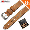 ZLIMSN Manual Thick Genuine Leather Watch Bands Belt Replacement Brown Grey 20 22 24 26mm Carved