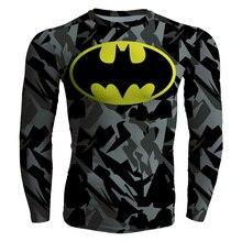 2017 Summer Hi-Q Quick-dry Slim Fitness Men's T-shirt Long Sleeve Male Tees Comic Camouflage Batman Logo Superman Cosplay Prints