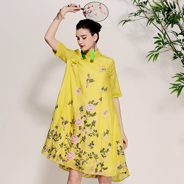 421b4a77bff70 US $99.9 |High end spring and summer women Chinese style floral midi dress  embroidery Qipao elegant loose lady A line party dress M XXXL-in Dresses ...