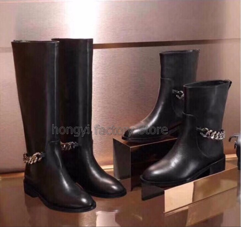 Newest Fashion Knee High Black Leather Boots Woman Round Toe Silver Chain Flat Long Boots Women Fashion Winter Booty 2018 newest fashion over the knee boots woman round toe silver chain flat long boots women fashion thigh botas low heel shoes