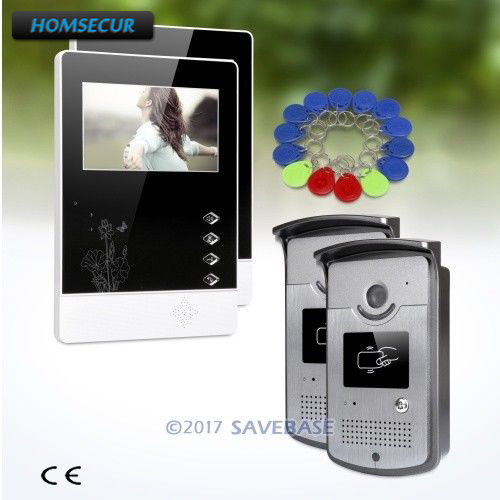 HOMSECUR 2v2 HAND-FREE 4.3inch Wired Video Door Phone Intercom With Video & Dual-way Audio Communication
