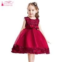 Borgoña una línea de rodilla longitud joya flor Niñas Vestidos arco con pequeña flor niños pagent vestidos de los niños muestran día vestido zf043
