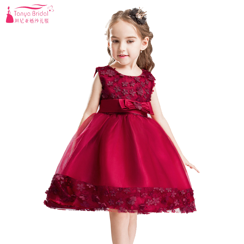 Burgundy A Line Knee Length Jewel   Flower     Girls     Dresses   Bow With Little   Flower   Kids Pagent Gowns Children's Day show   dress   ZF043