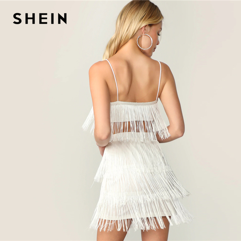 6901b4a75 SHEIN Sexy White Fringe Detail Cami Crop Top and Layered Bodycon Skirt 2  Piece Set Women Summer Solid Club Party Two Piece Set-in Women's Sets from  Women's ...