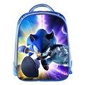Sonic azul bolsos 3d de dibujos animados los niños de kindergarten mochila niños escolares bookbag regalos de navidad para niños niñas