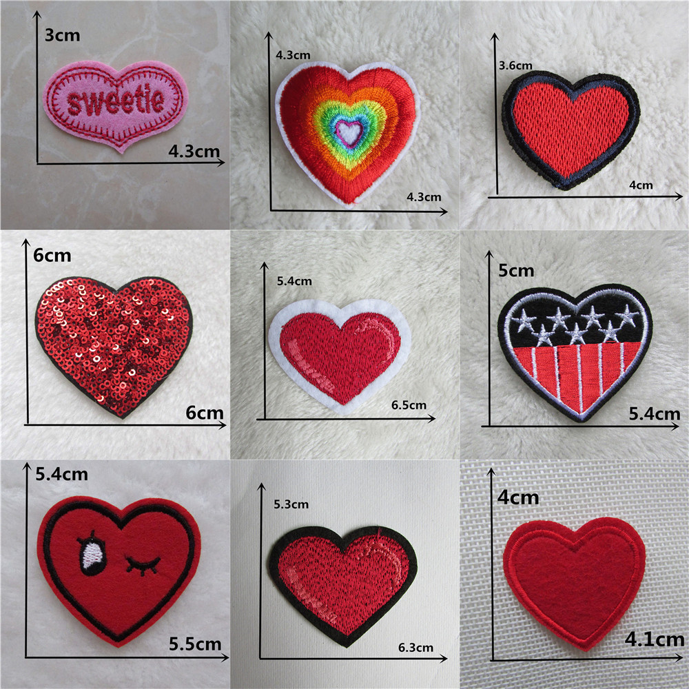 9-Pack, Small, Iron on Mini Red Heart Applique Patch