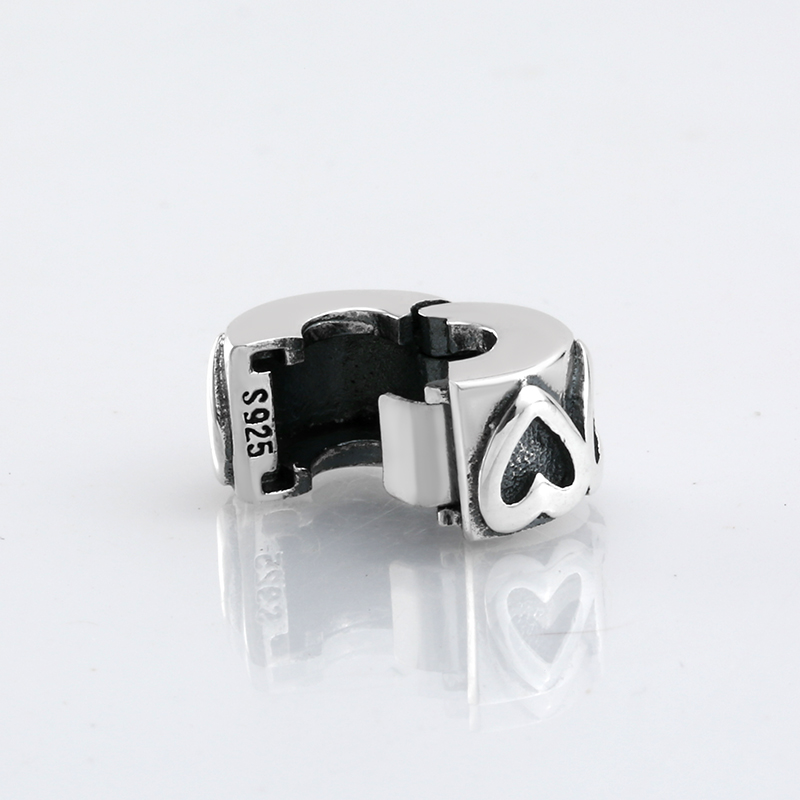 New 925 Sterling Silver charming round hollow clips Lock beads Fit Original Pandora Charm Bracelet Jewelry making