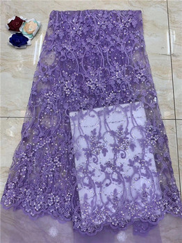 Free shipping (5yards/pc) high quality purple African sequins lace fabric French net lace fabric for party dress(FJ-2-19