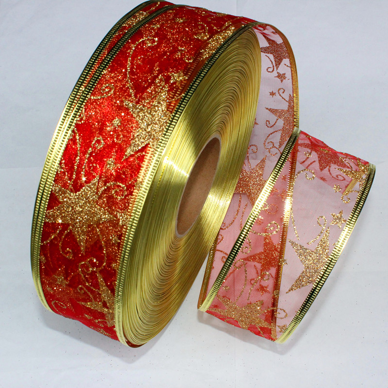 50MM Wide Red Ribbon Gauze Ribbon Printing Star Christmas Tree Decoration  Christmas Present Weeding Wire Edged