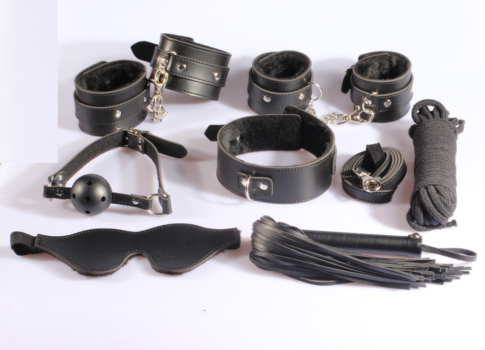 7 pieces in 1 lot, New Restrain kit: hand cuffs, ankle cuffs, leather flogger, collar, gag, paddle cotton rope Novelty product