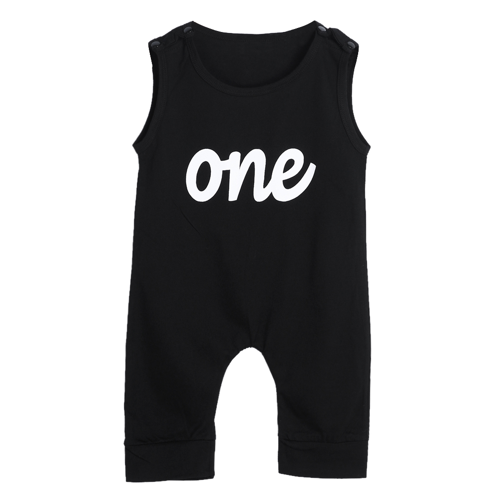 Cool Sleeveless Baby Boys Romper Infant Jumpsuit Kids Summer Sleeveless One Print Black Rompers Baby Boys Girls Clothes Outfit