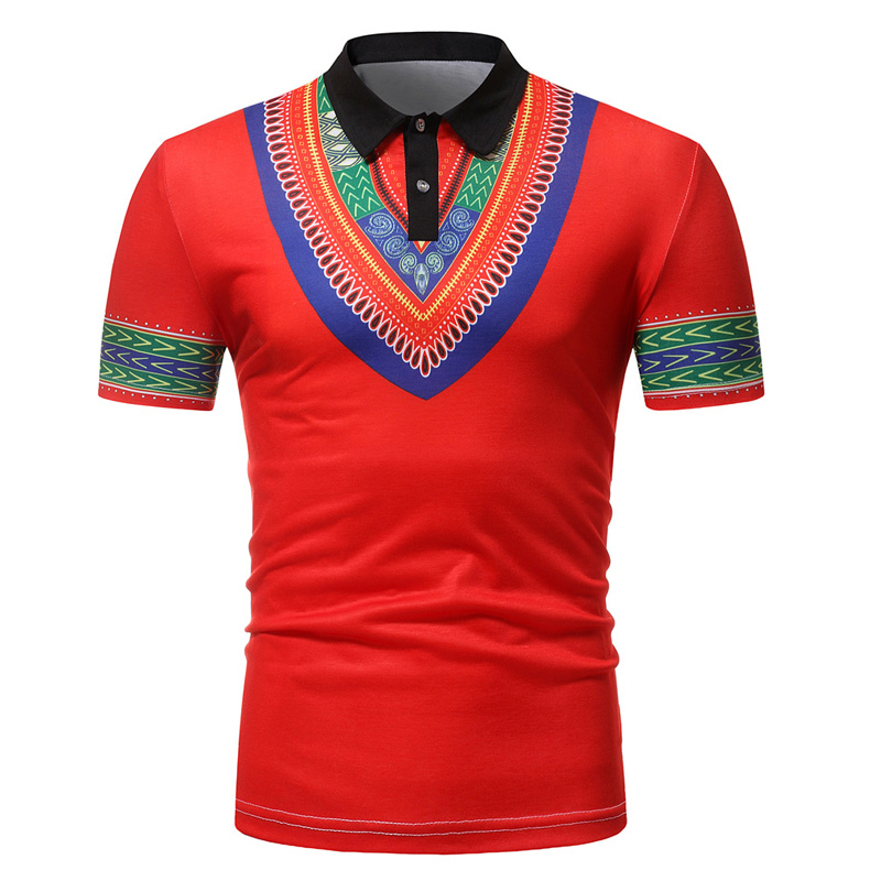 Red Dashiki   Polo   Shirt Men 2018 Summer New African   Polo   Homme Short Sleeve Camisa   Polo   Masculina Breathable Slim Fit Mens   Polos