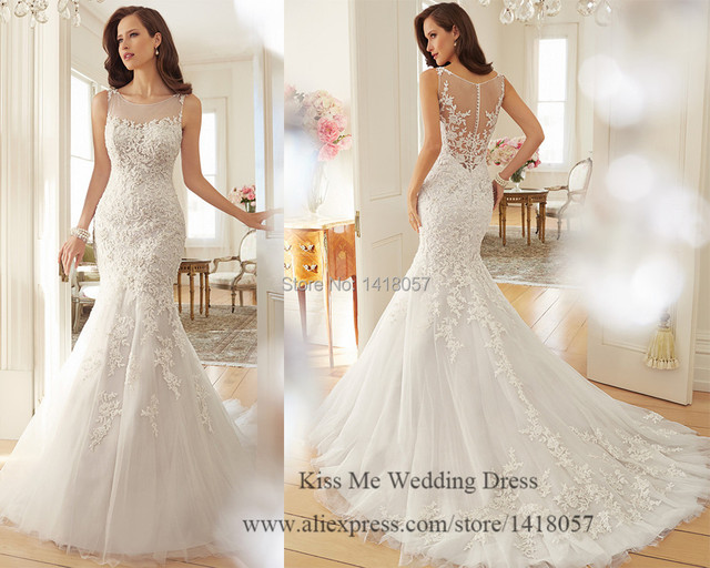 Classic And Elegant Wedding Dresses With Beautiful Lace: Latest Design Lace Wedding Dress 2015 Mermaid Bridal Gowns