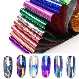 Image 5 - Elessical 16pcs 20*4cm Mix Nail art transfer foil Sticker ongles decoration nail art decals Design For Nails wraps DIY Set folie