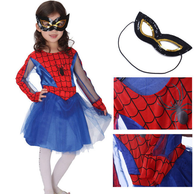 2017 araña girl dress niños set traje traje de halloween anime desempenho extravagante párr meninas vestir de los niños