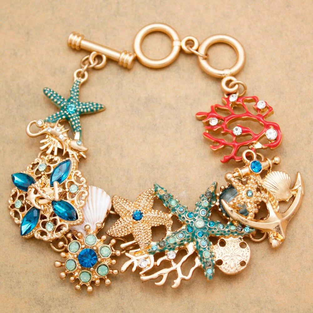 Nautical Meer Lebens Pferd Sterne Fisch Kristall Coral Anker Toggle Armband Armreif Strand Schmuck Kostüm