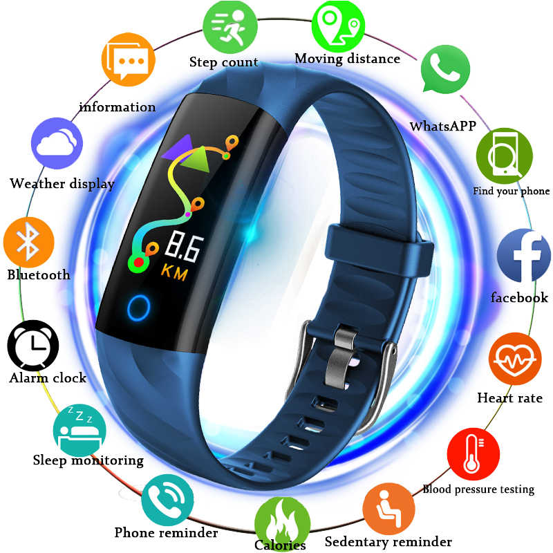 2019 Baru Smart Watch Pria Olahraga Kebugaran Tracker Heart Rate Monitor Tekanan Darah Smart Gelang Band LED Layar Warna