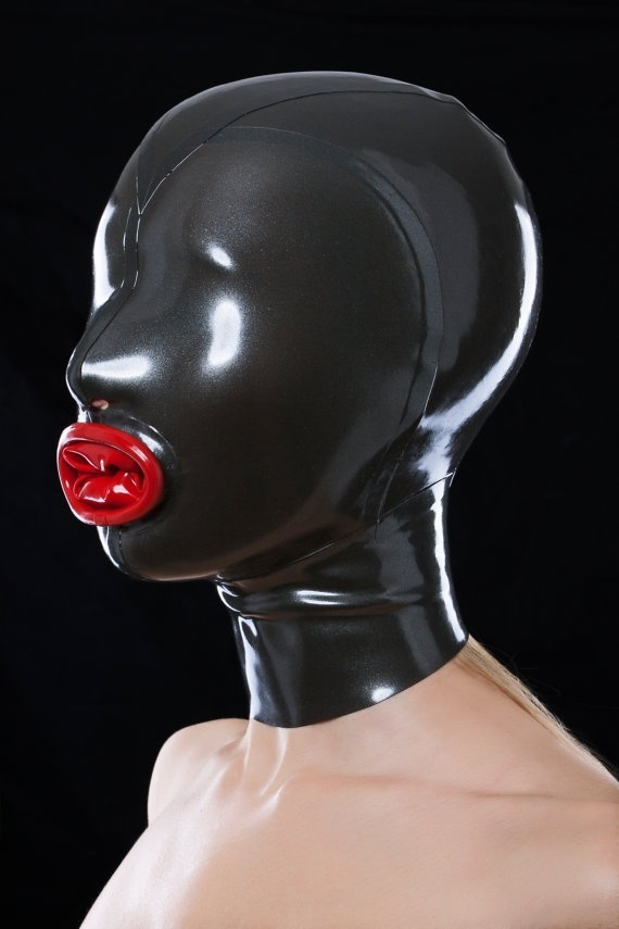 Black Latex Mouth Condoms Hood Mask Fetish Hood Rubber with Back Zipper sex toys for couples