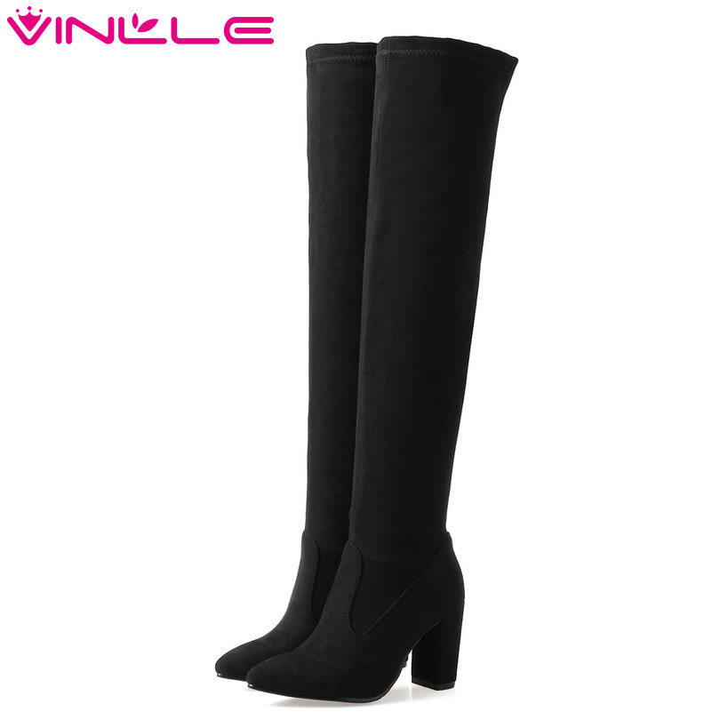 VINLLE 2018 Women Shoes Winter Over The Knee Boots Pointed Toe Scrub Square High Heel Leisure Ladies Motorcycle Shoes Size 34-43 name brand pointed toe high heel women winter boots fashion custom over the knee women leather boots size 34 to 42 free shipping