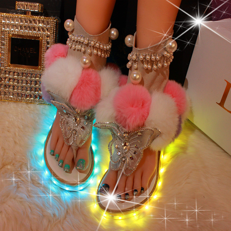 Choudory Female Shoes LED Pom Pom Thong Sandals Woman Mixed Colors Rhinestone Flat Shoes Woman Sweet Style LED Light Flip Flops